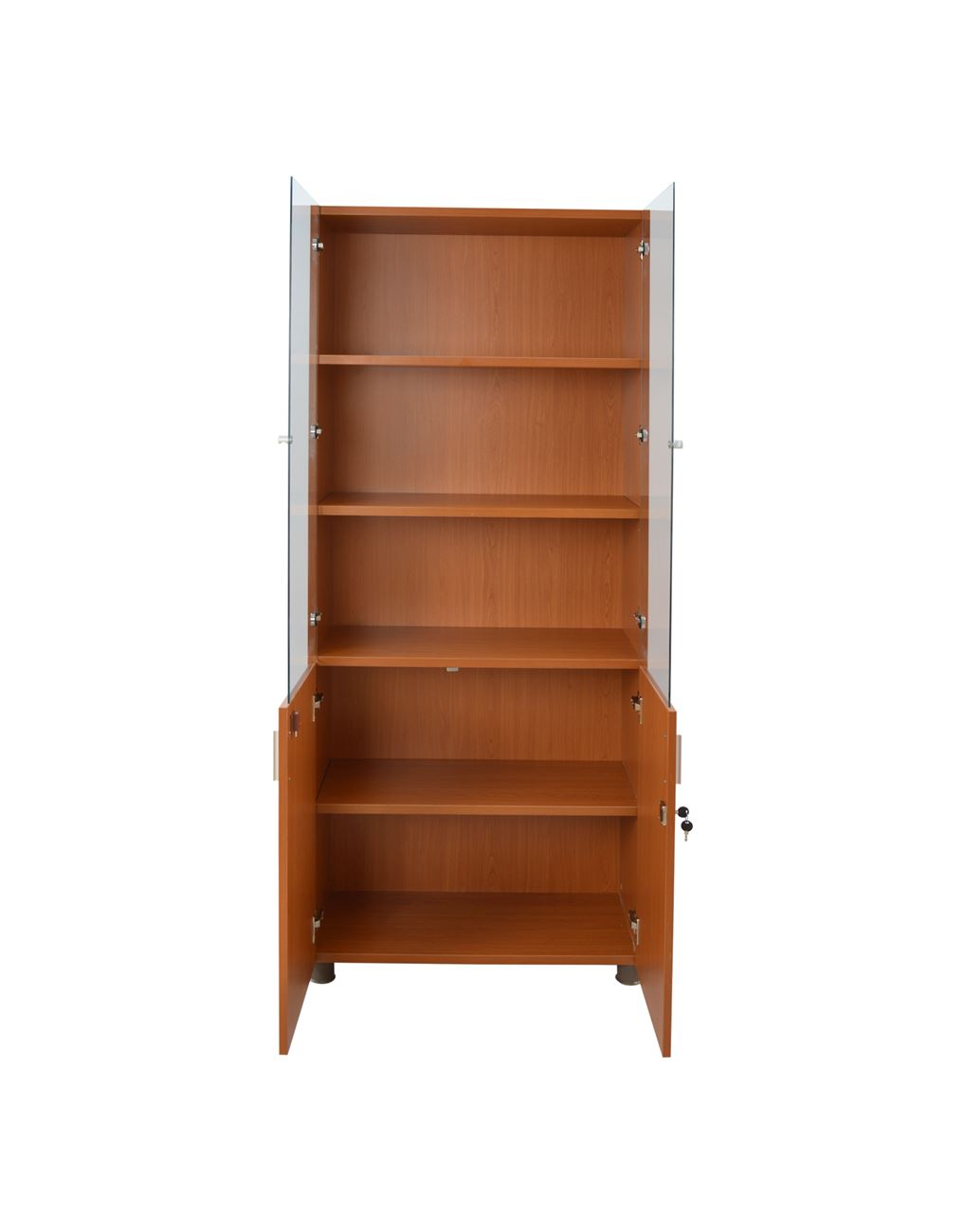 Homemarkt Bookcase In Cherry Color With Glass Doors Hm10208
